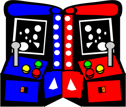 Arcade machines comic vector drawing.