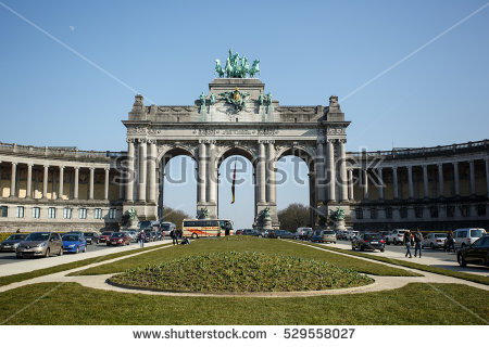 Triumphal Arch In The Parc Du Cinquantenaire Stock Photos, Royalty.