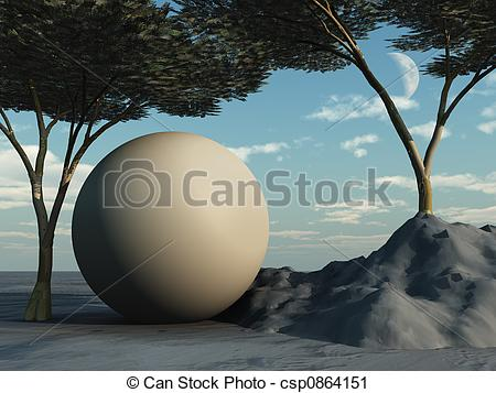 Clipart of Sphere under Arcadia Trees csp0864151.