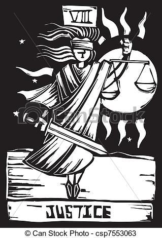 Vectors of Tarot Card Justice.