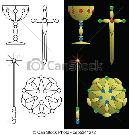Vector Illustration of Tarot card symbols.