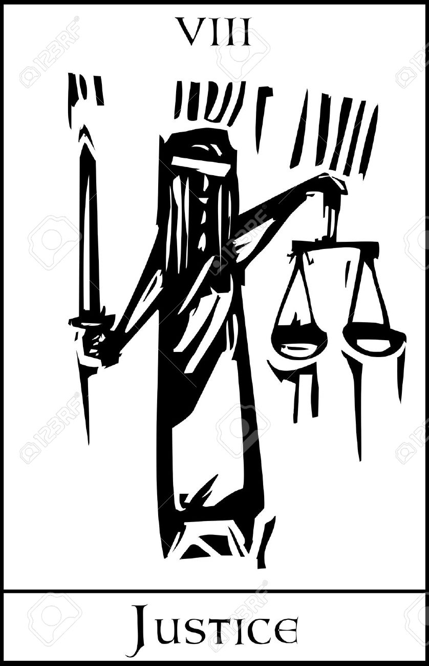 Woodcut Expressionist Style Tarot Major Arcana Image Of Justice.