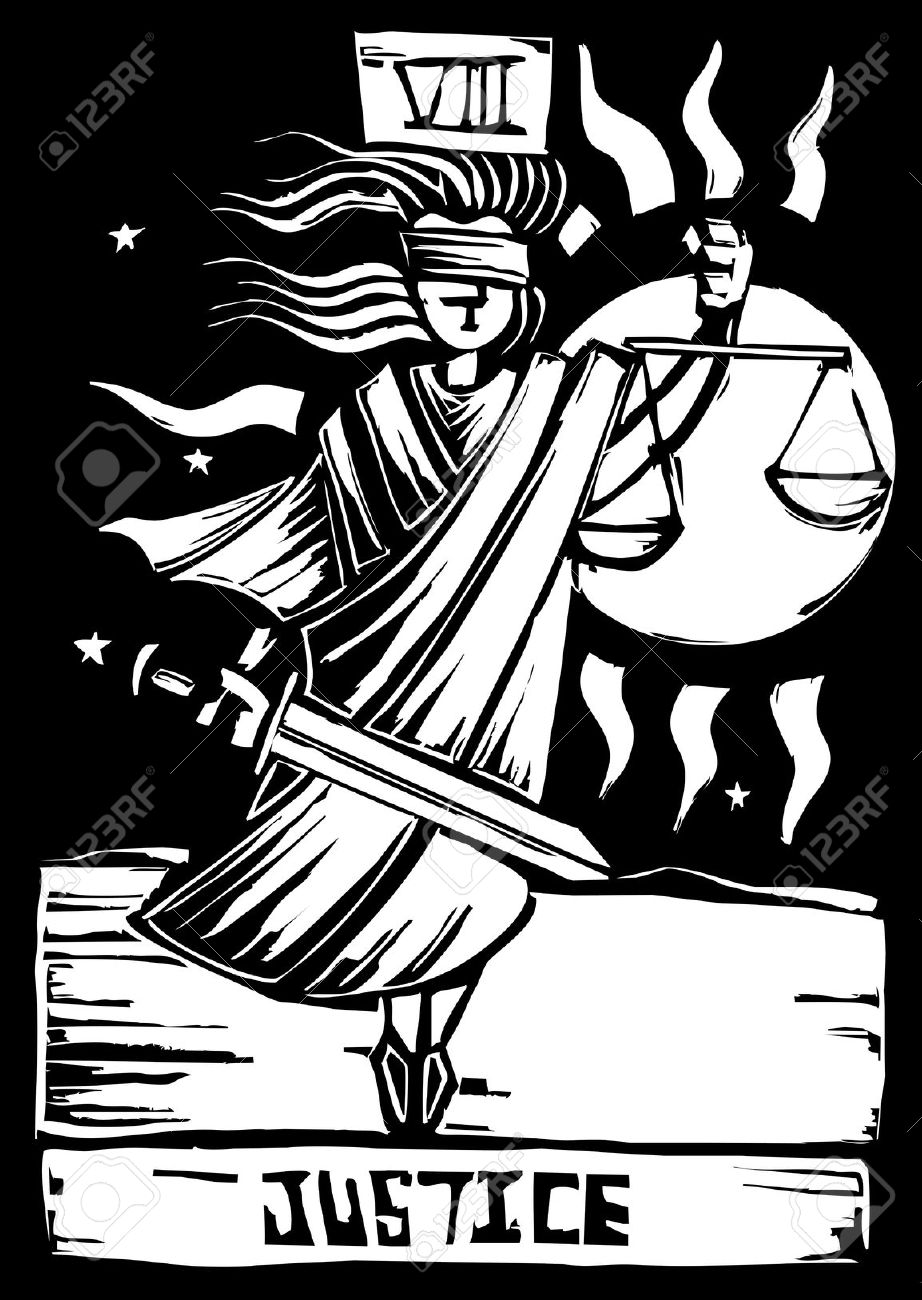 Tarot Card Major Arcana Image Of Justice Royalty Free Cliparts.