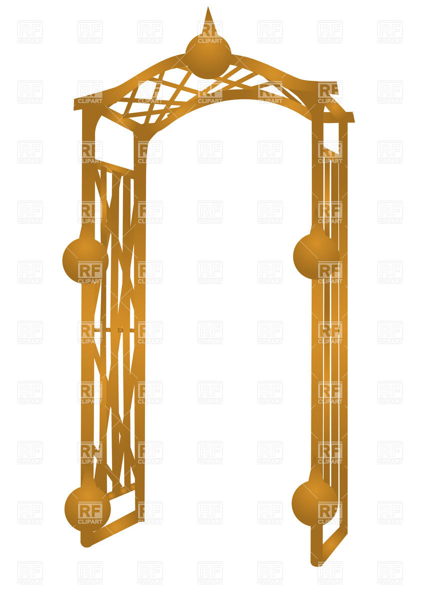 Garden wooden arch isolated on a white background Stock Vector Image.