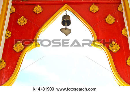 Stock Photograph of Arches at the entrance of Buddhist temple.