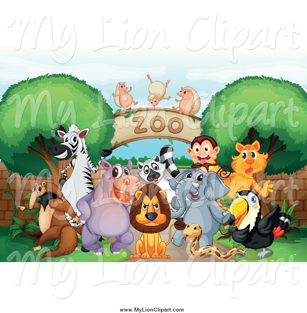 Clipart of Zoo Animals at an Arch Entrance by colematt.