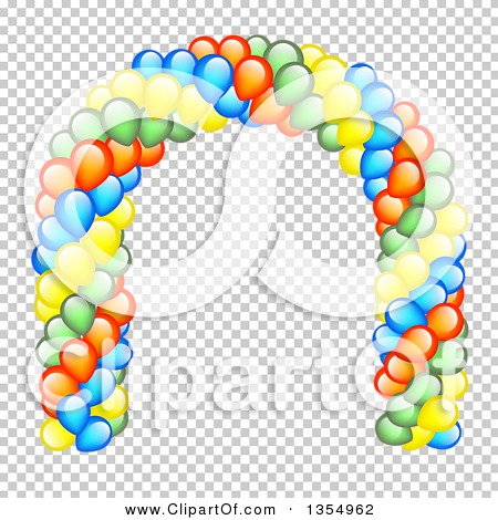 Clipart of a Colorful Party Balloon Entrance Arch.