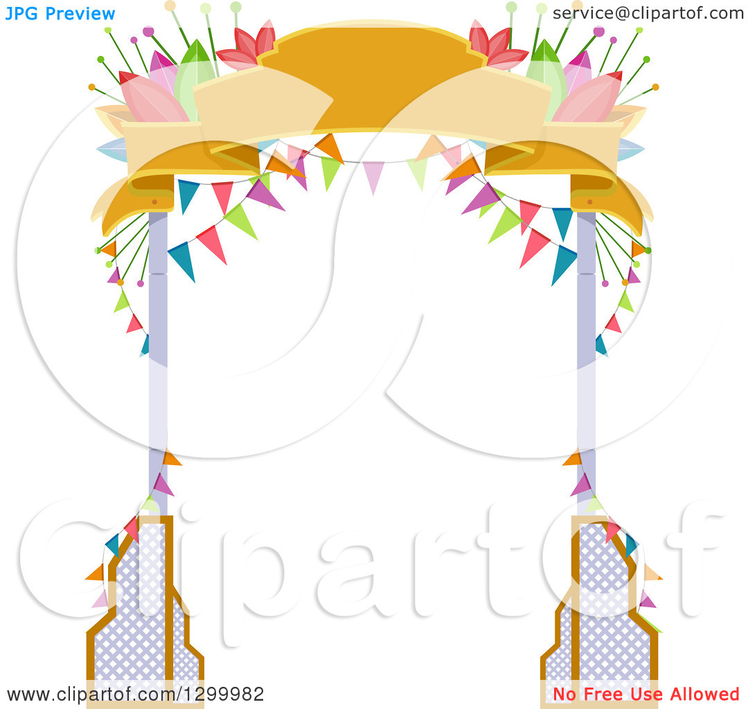 Clipart of a Welcome Arch with Banners and Flowers.