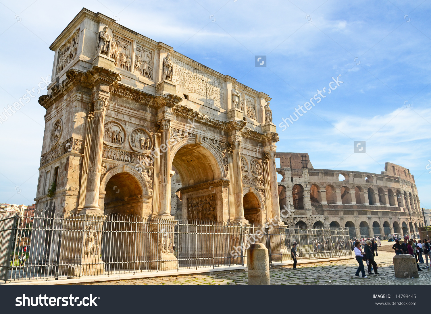 Arch Constantine Coliseum Background Rome Italy Stock Photo.
