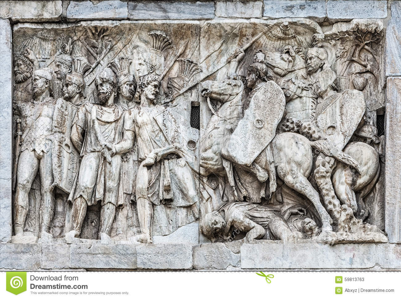 Detail Of The Arch Of Constantine Stock Illustration.