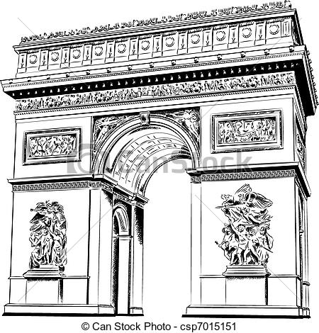 Vector Clip Art of Arch of Triumph isolated on the white.
