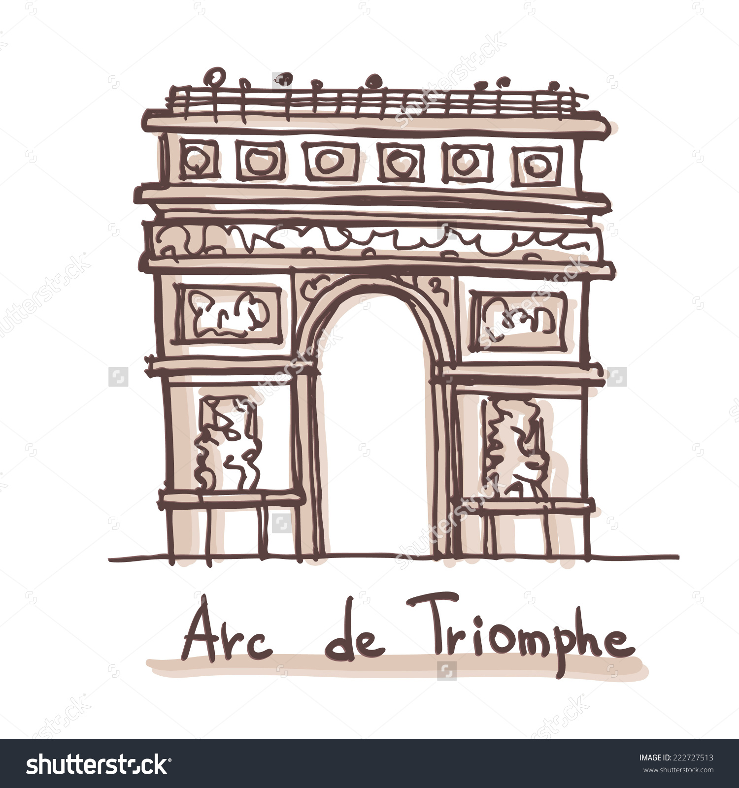 Hand Drawn Sketch Arc De Triomphe Stock Vector 222727513.