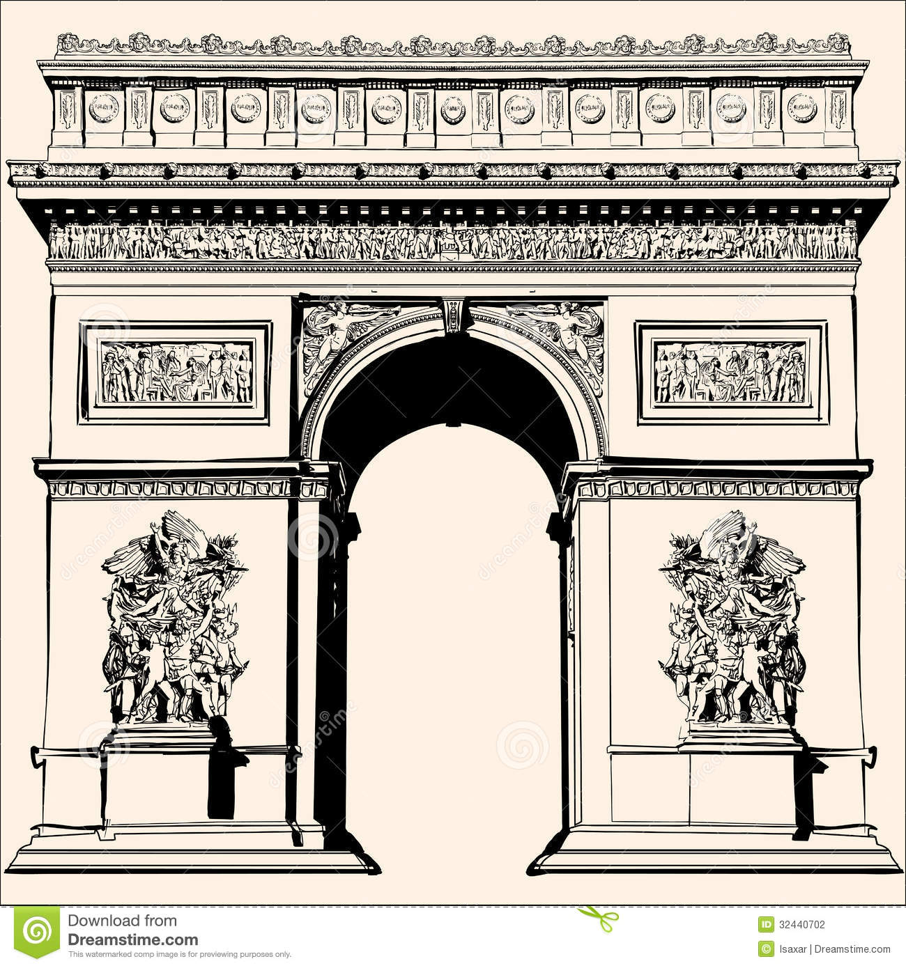 Arc De Triomphe Arch Triumph Paris France Stock Illustrations.