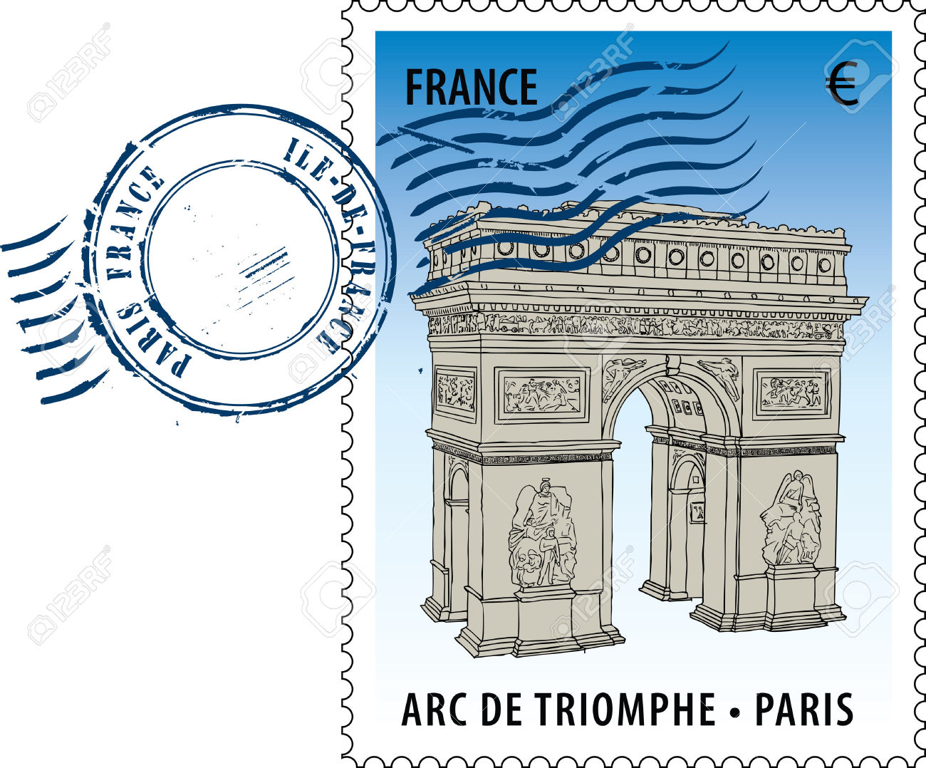 Postmark With Sight Of The Arc De Triomphe (Arch Of Triumph.
