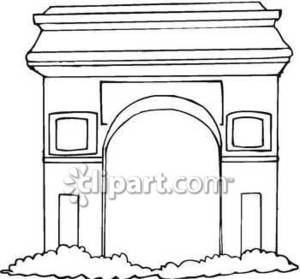 and White Line Drawing of L'arc De Triomphe Royalty Free Clipart.