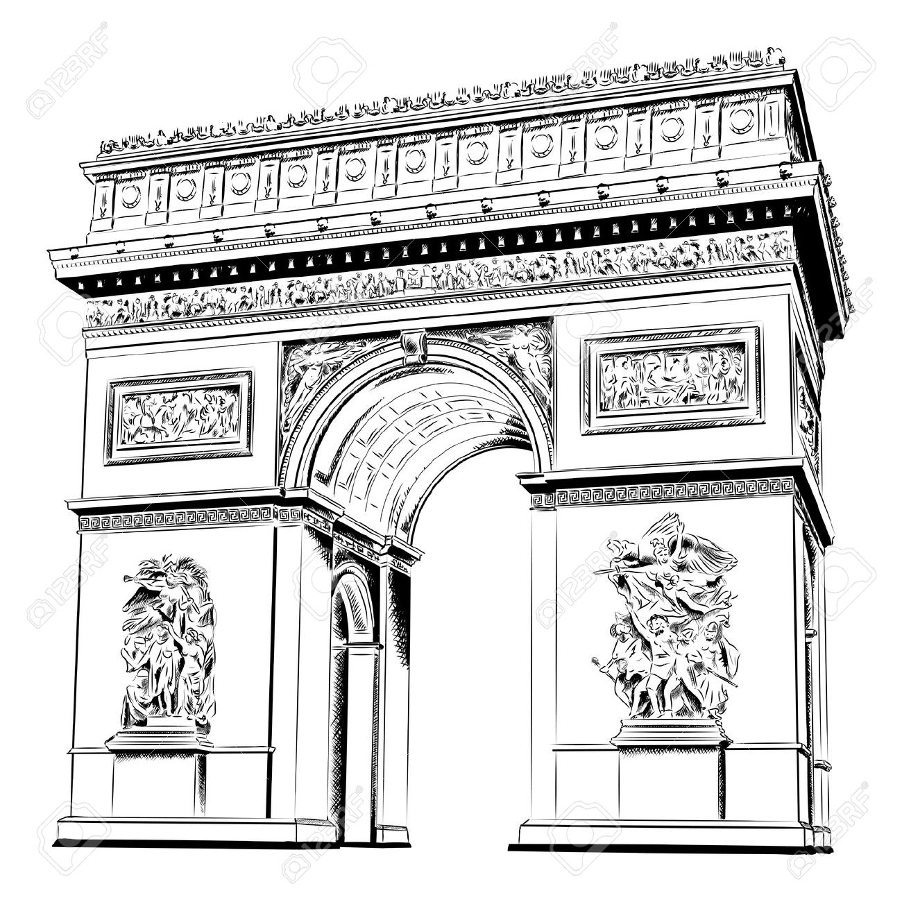 Arch Of Triumph Isolated On The White Royalty Free Cliparts.