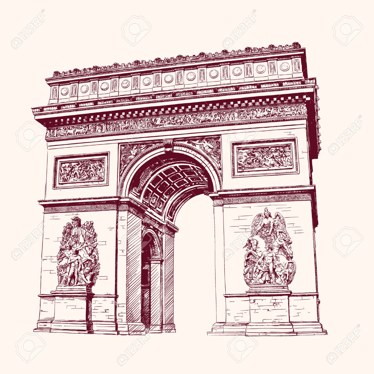 Arch Of Triumph, Paris. Hand Drawn Vector Illustration Royalty.