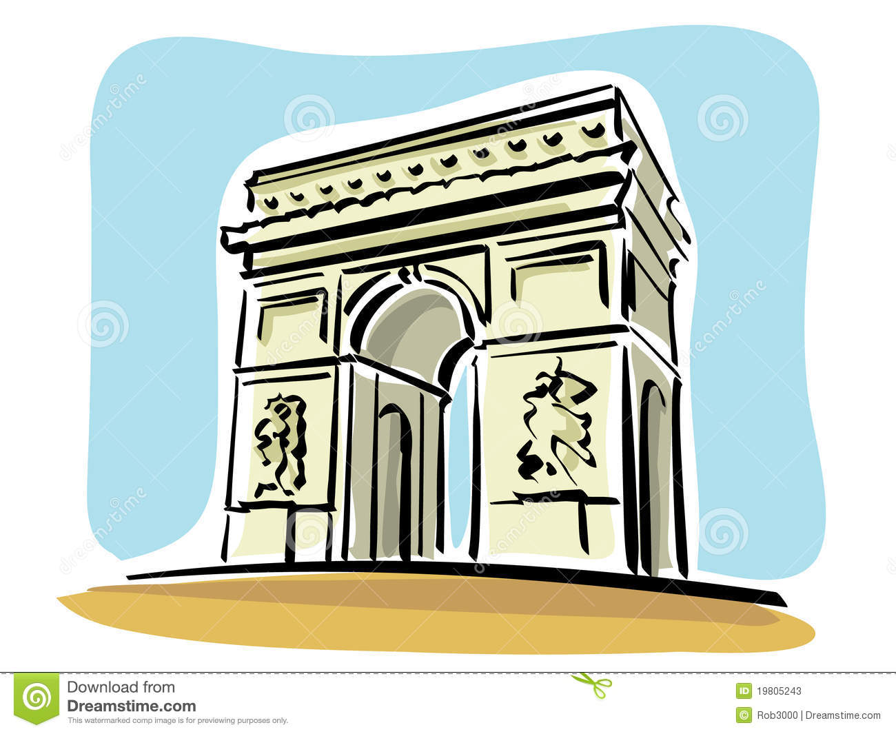 Arc De Triomphe Stock Illustrations.