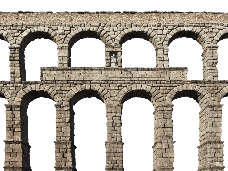 Medieval Castle Stone Arch Bridge PNG (Isolated.