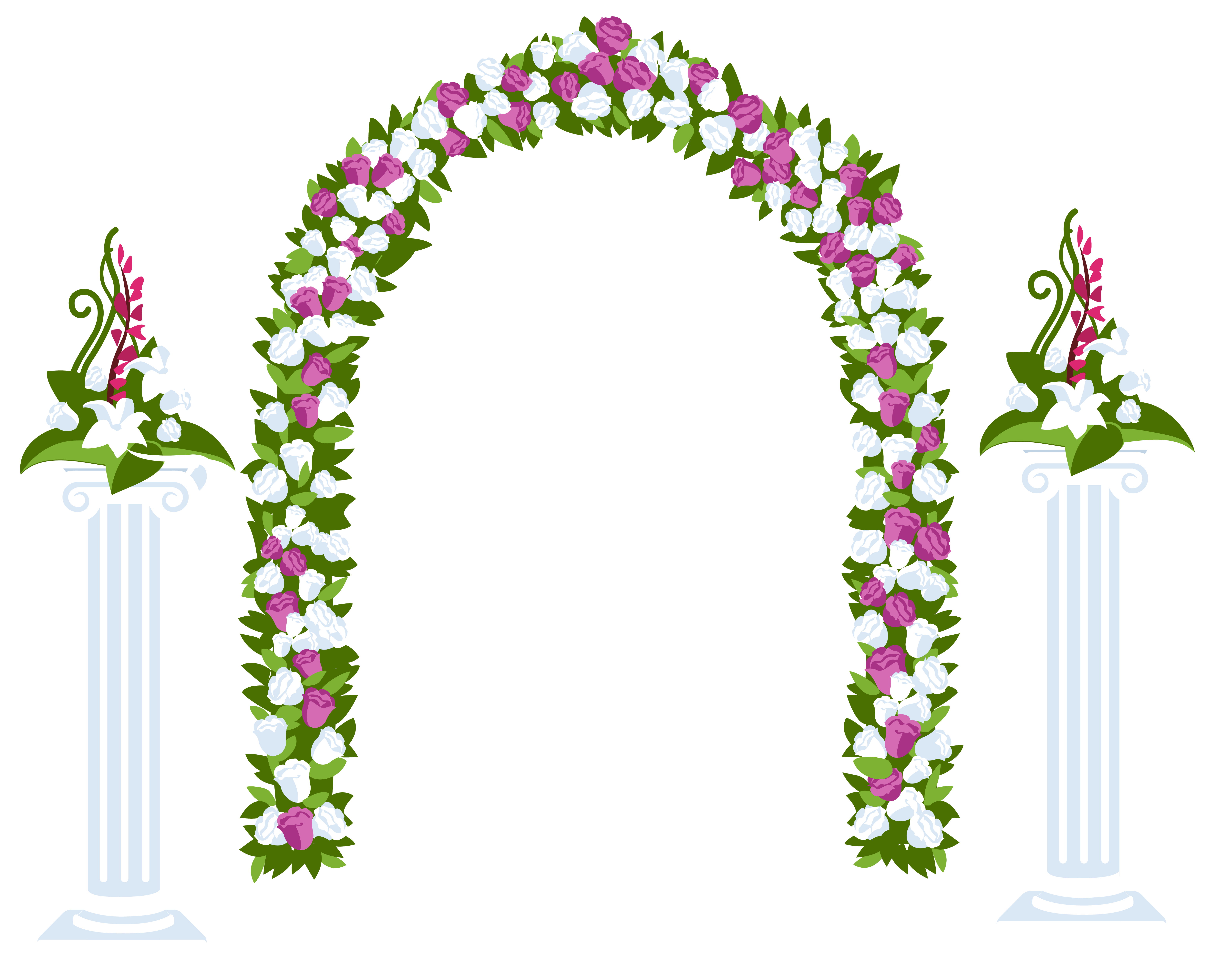Floral Arch and Columns.
