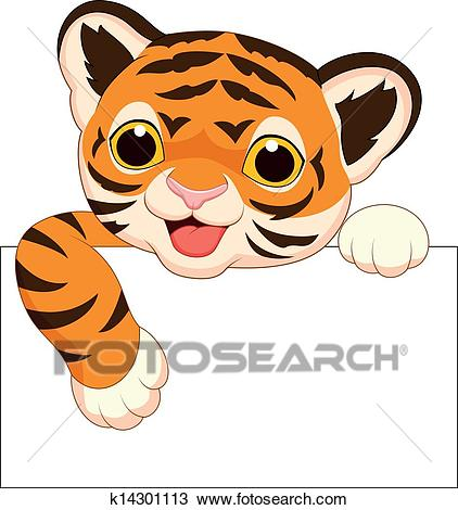 Cute tiger cartoon with blank sign Clipart.