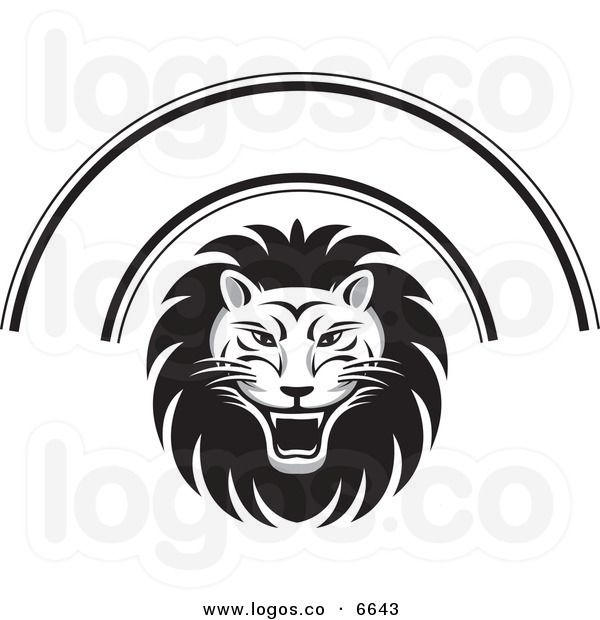 Royalty Free Vector of a Black and White Roaring Lion Face.