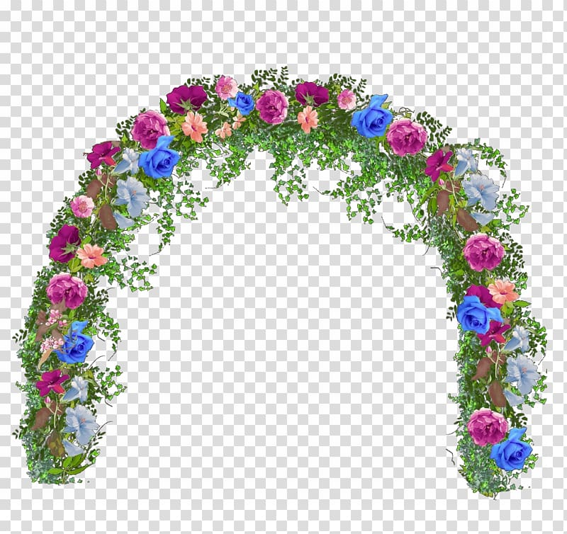 Multicolored floral garden arch illustration, Floral design.