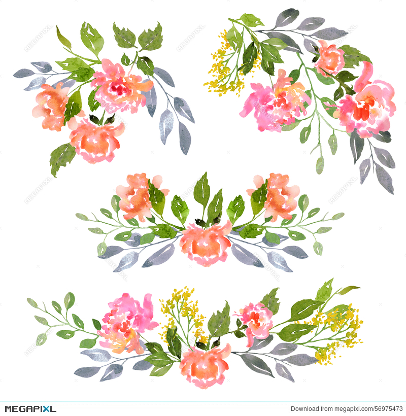 Set Of Watercolor Floral Composition Illustration 56975473.