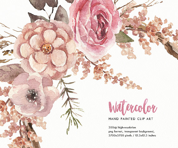 Watercolor flower wreath Trio. Hand.