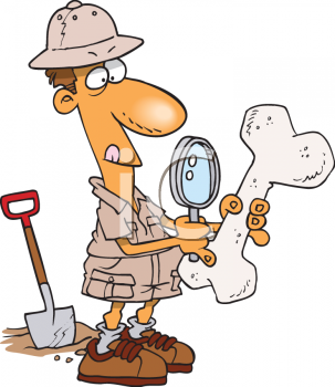 Clipart Picture of an Archaeologist Examining a Bone.