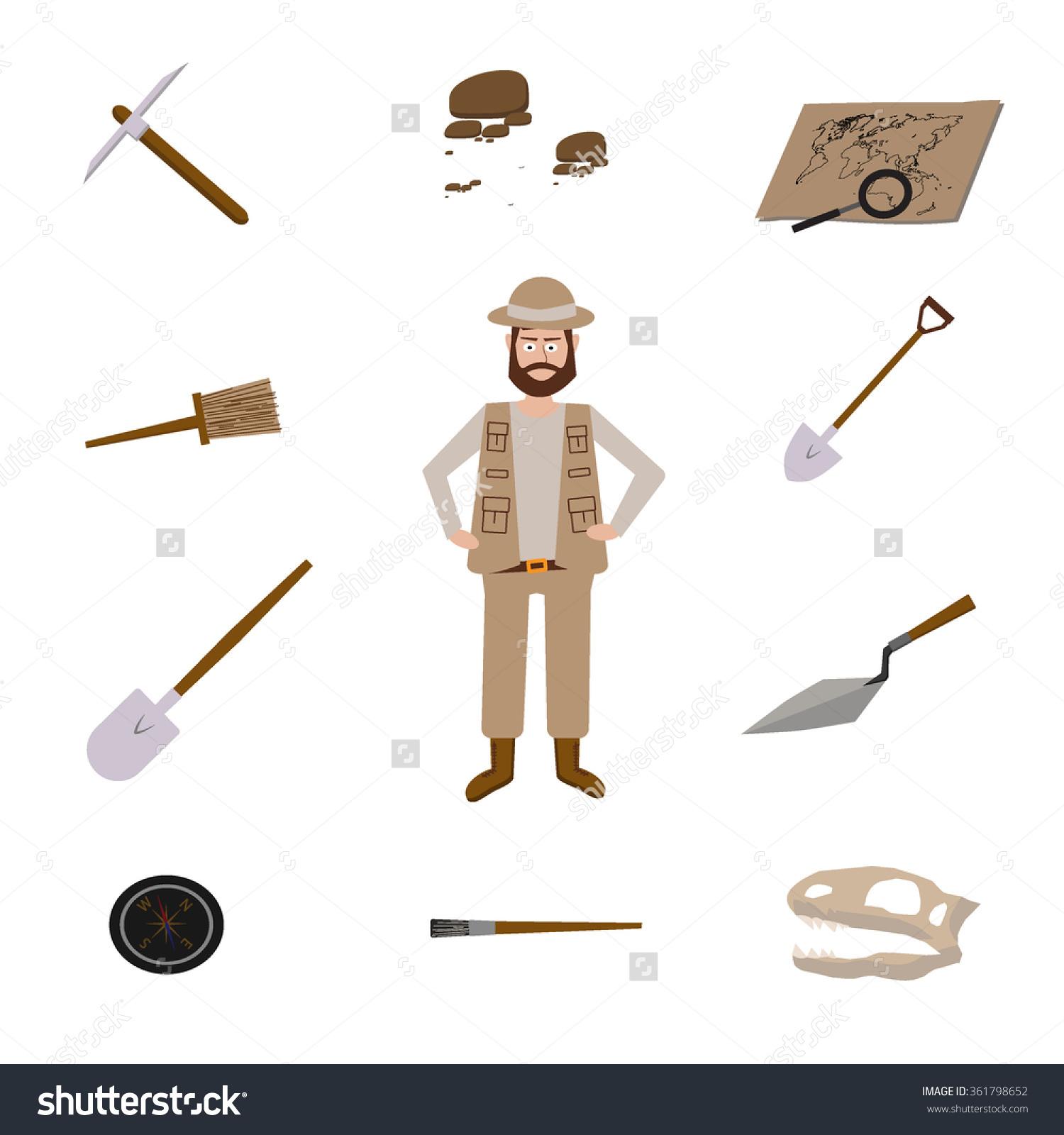 Paleontologist tools clipart.