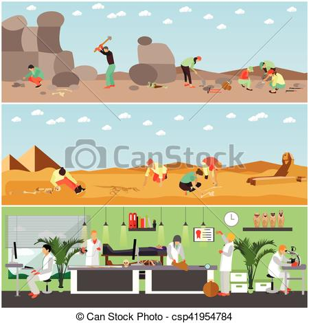 Vector of Vector set of banners with archaeological excavation and.