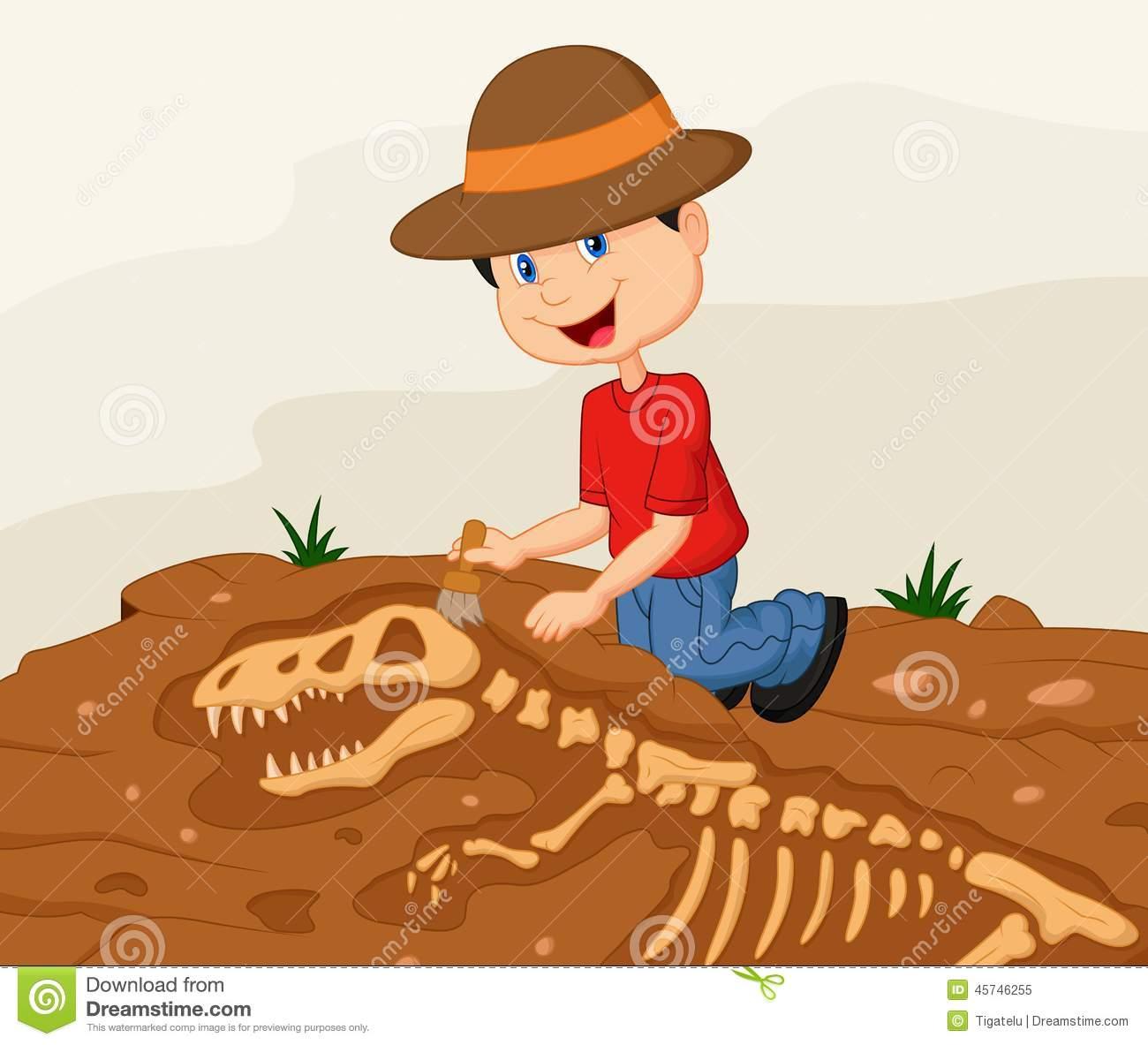 Cartoon Child Archaeologist Excavating For Dinosaur Fossil Stock.