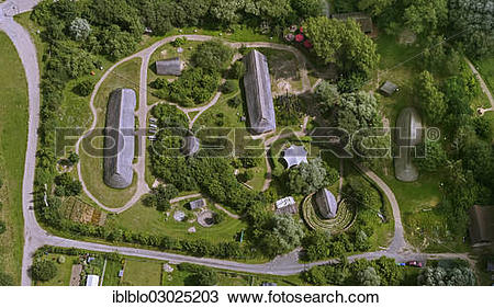 "Stock Photo of ""Aerial view, Hitzacker Archaeological Centre, open."