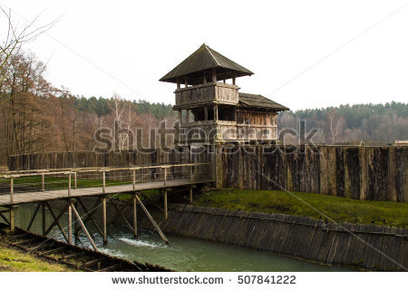 Small Wooden Bridge Wall Tower Biskupin Stock Photo 43488610.