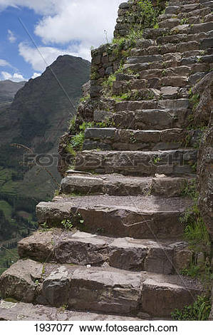 Picture of Stone Steps At Archaeological Park Of Pisac; Pisac Peru.