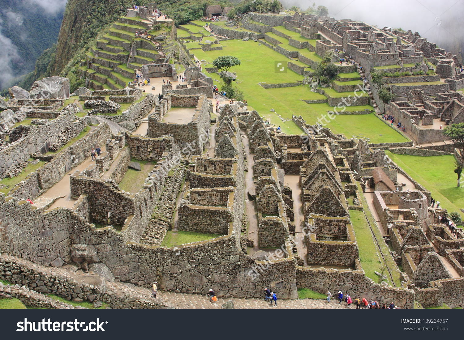 Archeology Ancient Aztec Civilization Inca Peru Stock Photo.