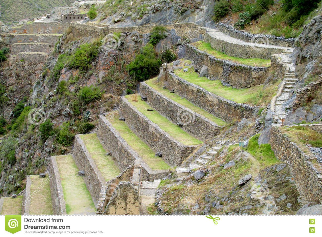 Ancient Inca Archaeological Site Ruins Ollantaytambo Near Cusco.
