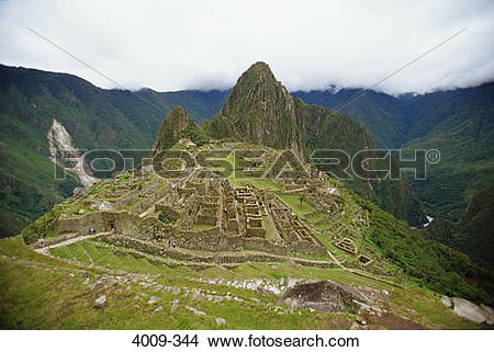 Stock Photo of High angle view of an archaeological site, Machu.