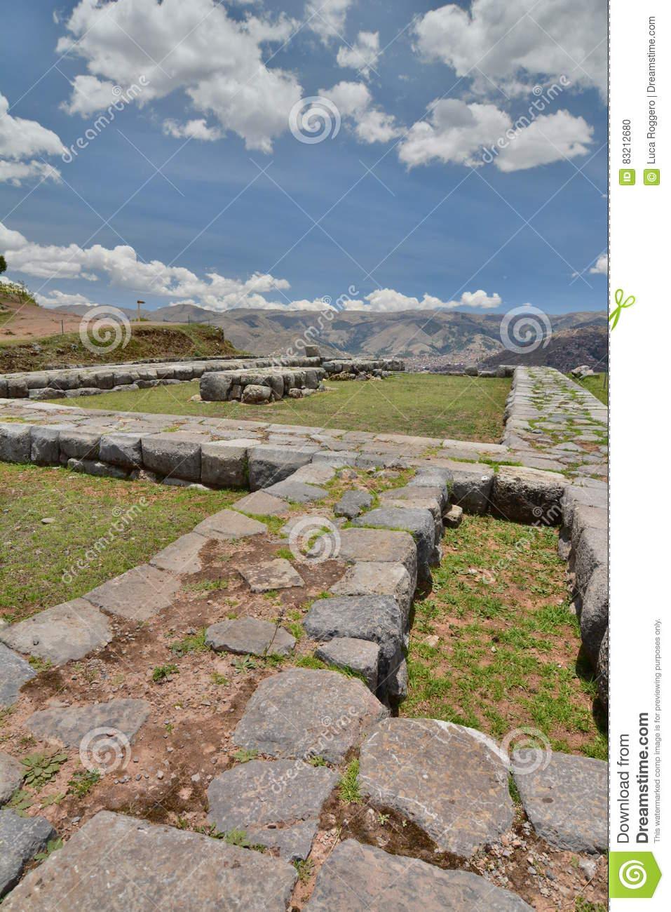 Saqsaywaman Archaeological Inca Site. Cusco. Peru Stock Photo.