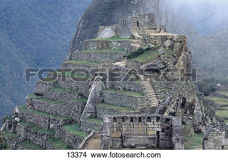 Stock Photo of Ruins of buildings at archaeological site, Inca.