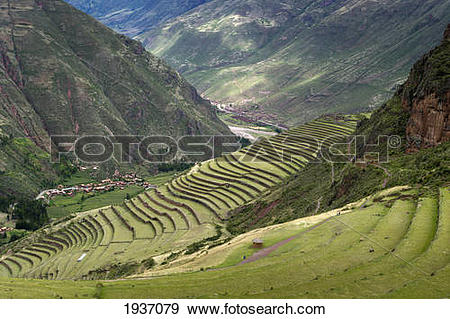 Stock Photograph of Archaeological Park Of Pisac; Pisac Peru.