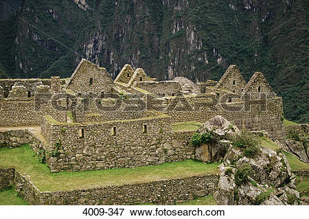 Picture of High angle view of an archaeological site, Machu Picchu.