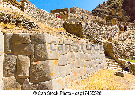 Stock Photo of Ollantaytambo, Peru, Inca ruins and archaeological.