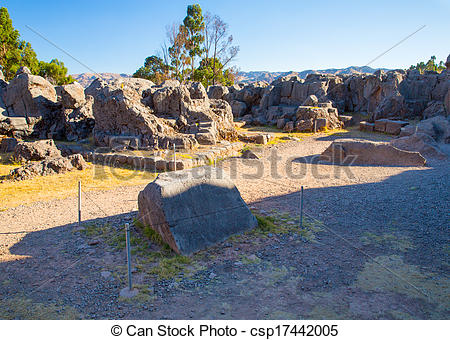 Stock Photography of Peru, Qenko, located at Archaeological Park.