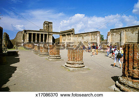 Stock Photography of Tourists visiting the ancient city of Pompeii.
