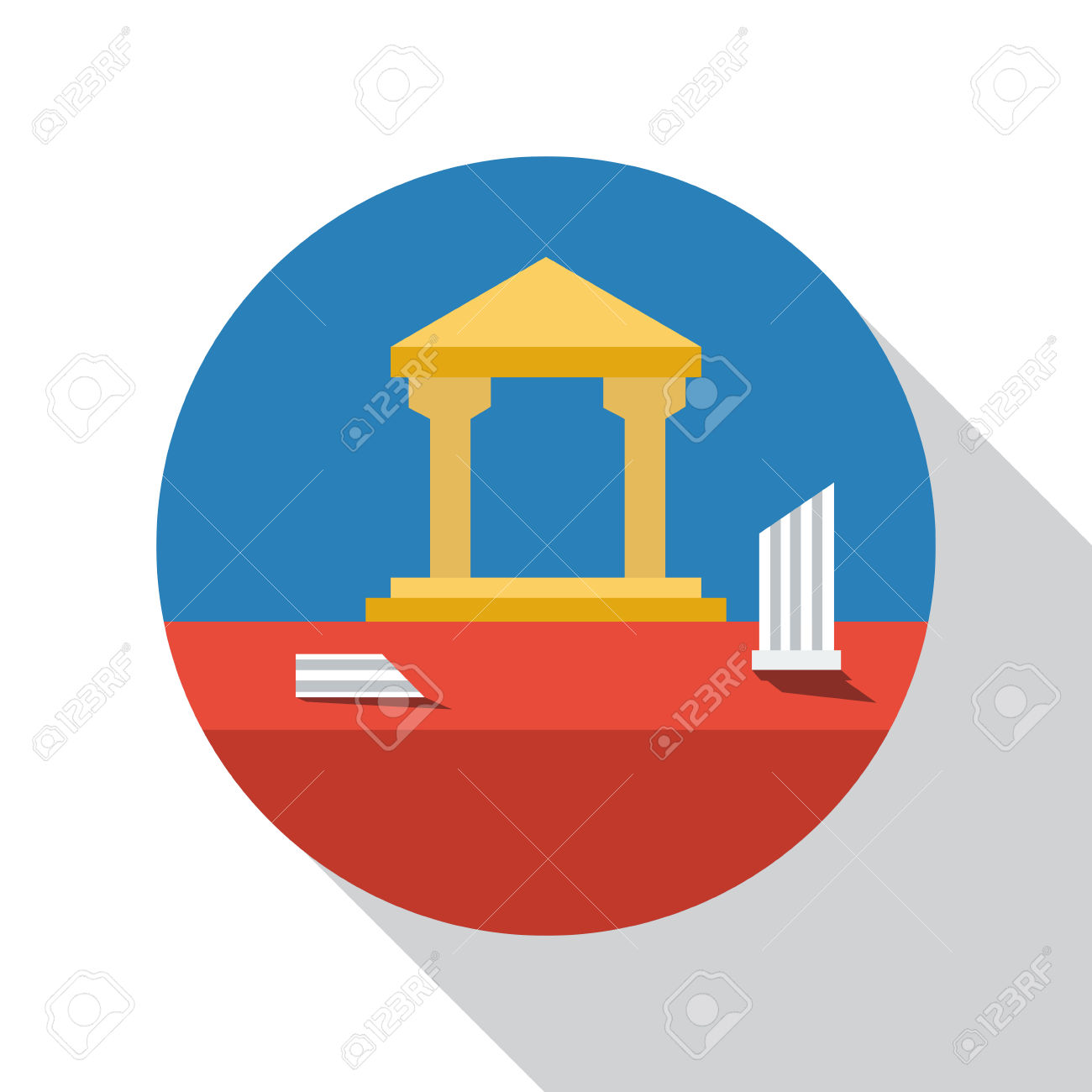 Vector Sign Archaeological Site, Flat Design Royalty Free Cliparts.