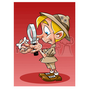 vector archaeologist cartoon character clipart. Royalty.