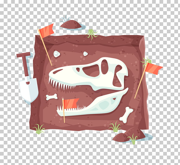 Archaeology Excavation Illustration, dinosaur fossil.