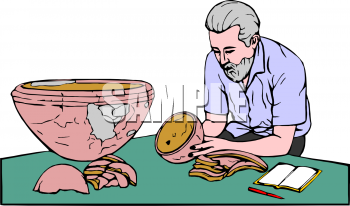 Clip Art Picture of an Archaeologist Studying a Pot.
